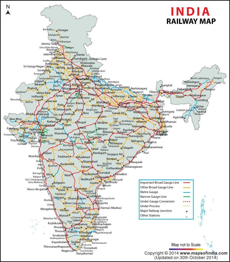 Caminhos de ferro - Mapas da Índia - Direitos Reservados
