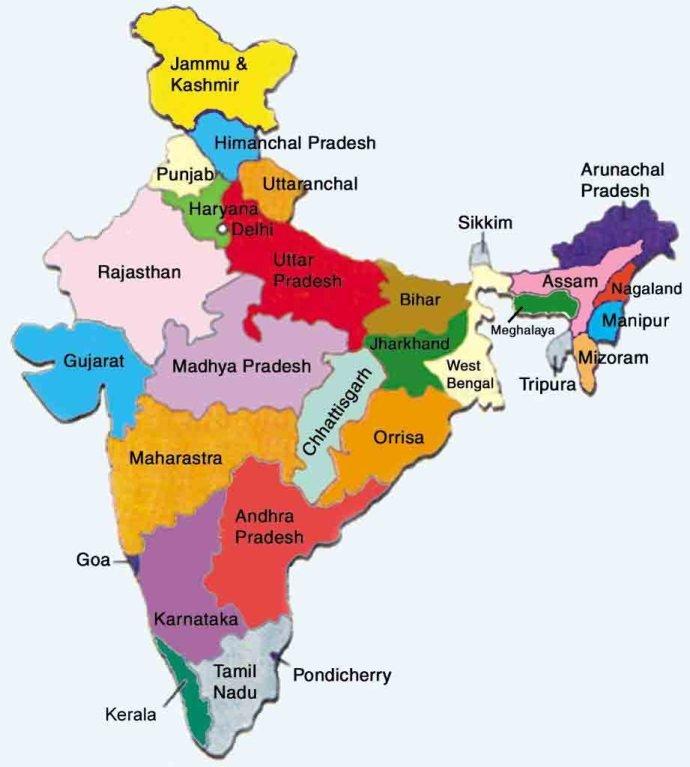 Mapa da Índia - Direitos Reservados