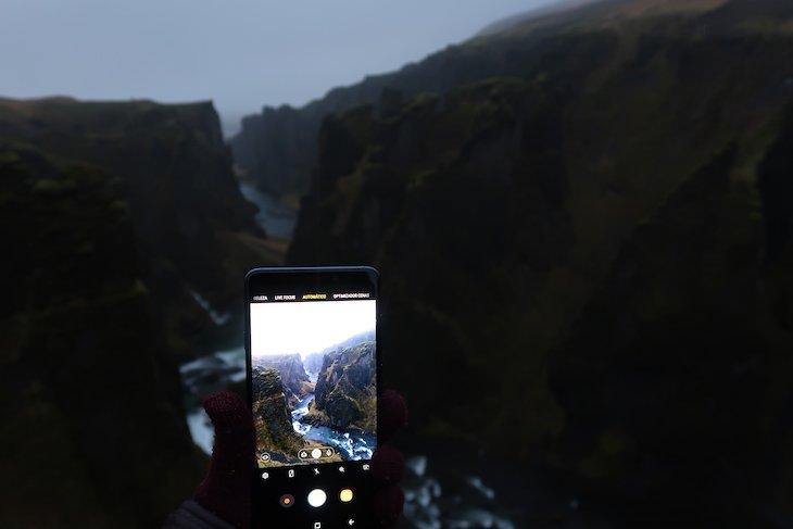 Fjádrárgljúfur, Viagem à Islândia: testes do Galaxy A9, Samsung © Viaje Comigo