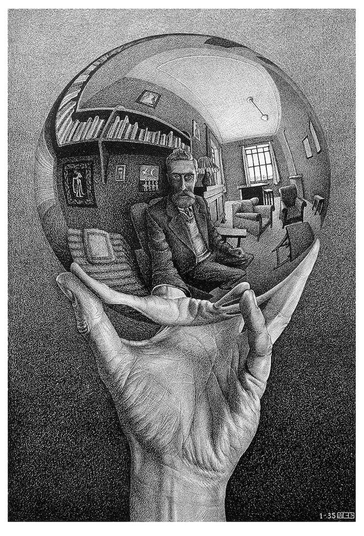 M. C. Escher - Mão com esfera refletora, 1935 - Direitos Reservados