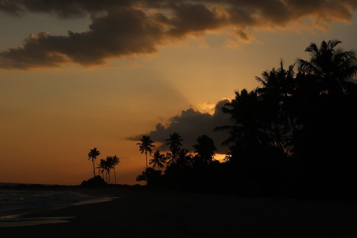 Pôr do sol na praia junto do Lantern Boutique Hotel - Sri Lanka © Viaje Comigo