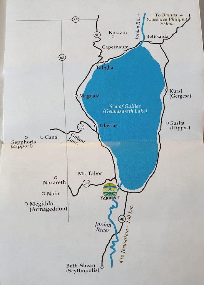 Mapa Mar da Galileia - Israel © Viaje Comigo