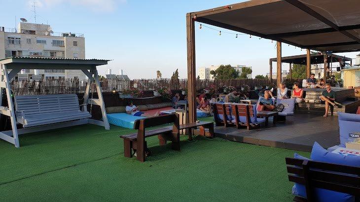 Rooftop do Abraham Hostel Jerusalém - Israel © Viaje Comigo