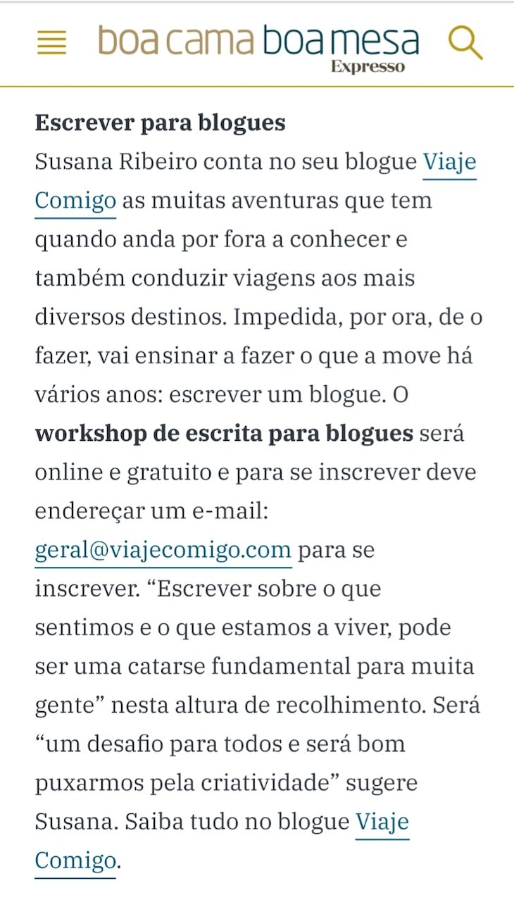 Boa Cama Boa Mesa - Workshop Online de Escrita para Blogues © Viaje Comigo Susana Ribeiro
