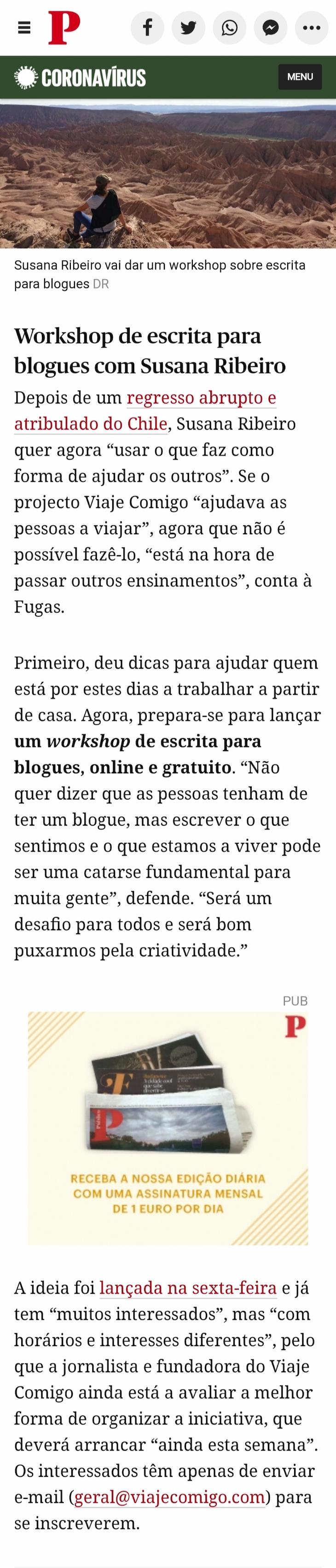 Viaje Comigo - Workshop Escrita na Fugas - Público