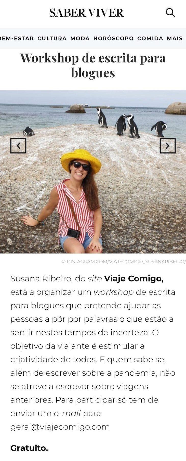 Viaje Comigo - Workshop Escrita na revista Saber Viver
