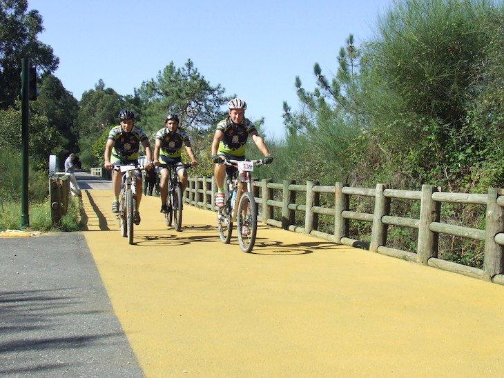 Ciclistas na Ecopista do Rio Minho DR