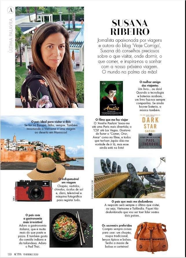 Susana Ribeiro do Viaje Comigo na revista Activa