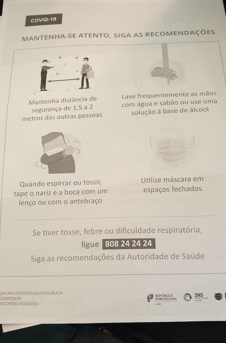 Na chegada a Portugal, entregam esta informação - outubro 2020 © Viaje Comigo