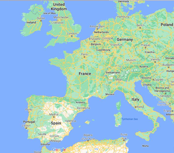 Mapa de França © Google