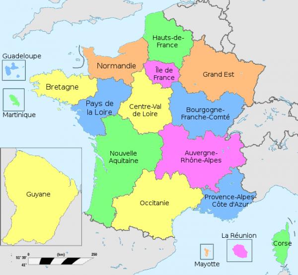 Mapa de França © regions de france