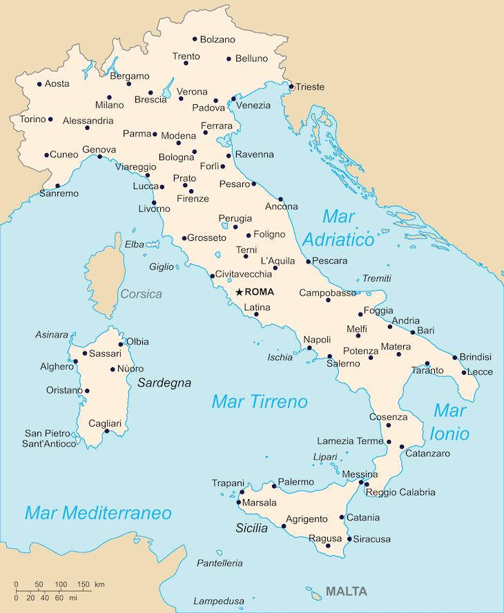 Mapa de Itália DR