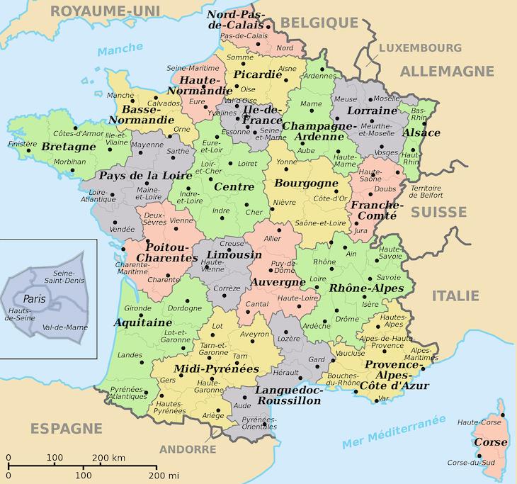 Mapa com regiões de França - Foto: Pixabay