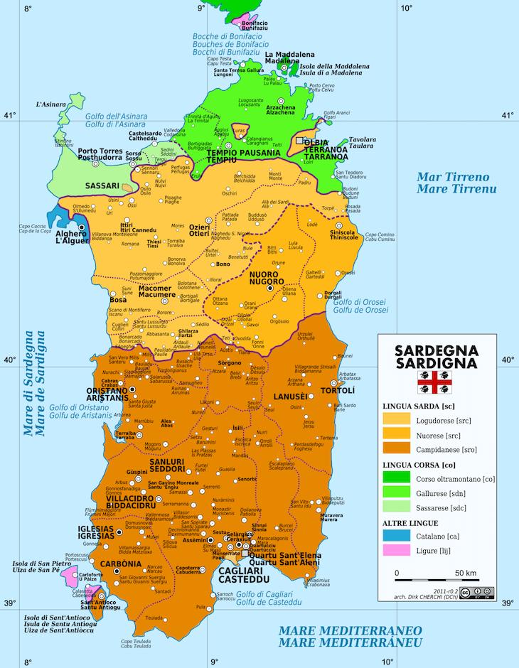 Mapa da Sardenha DR