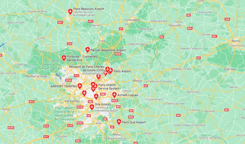 Mapa Aeroportos Paris © Google