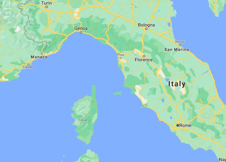Mapa de Corsega © Google Maps