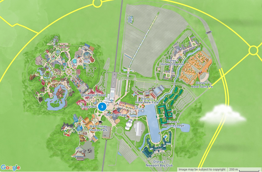 Mapa Disneyland Paris © Google
