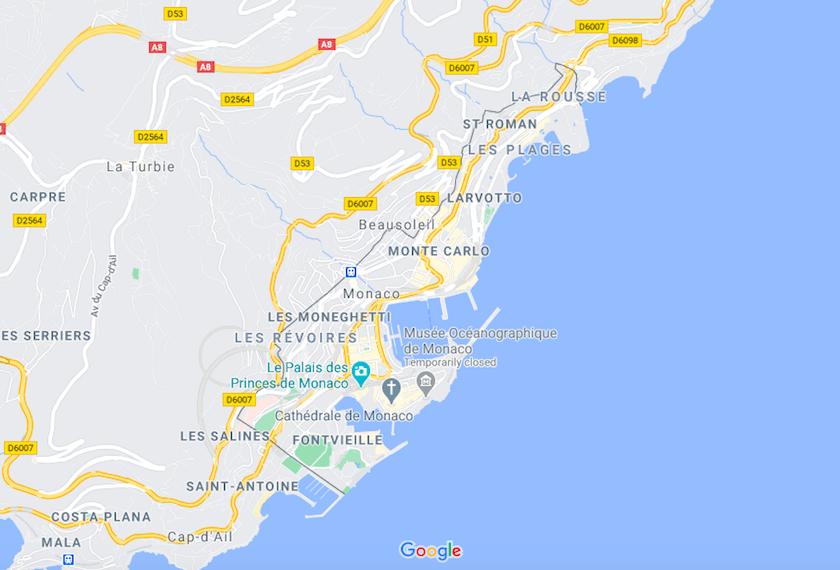 Mapa Monaco © Google