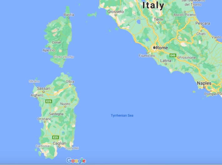 Mapa Sardenha © Google