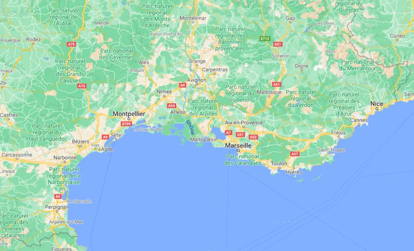 Mapa Sul de França © Google