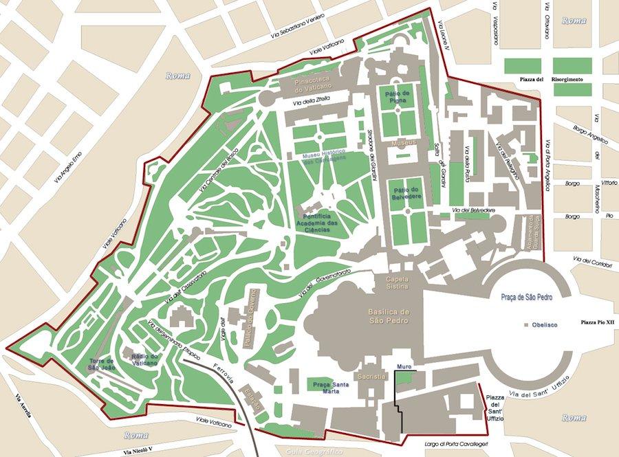 Mapa Vaticano © GuiaGeo Europa