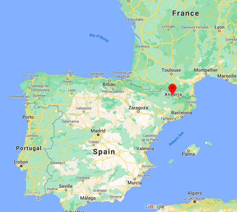 Mapa Andorra © Google
