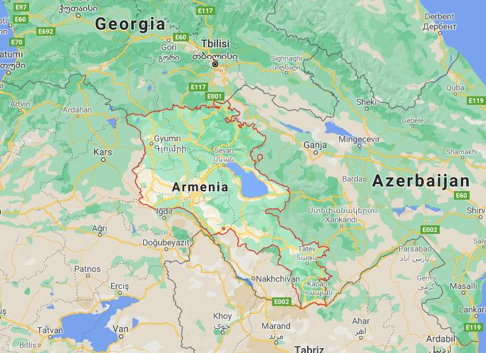 Mapa Arménia © Google