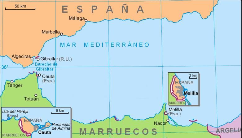 Mapa Ceuta e Melilla © wikipedia