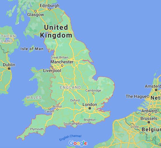 Mapa Inglaterra © Google