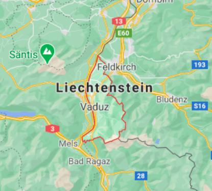 Mapa Liechtenstein © Google