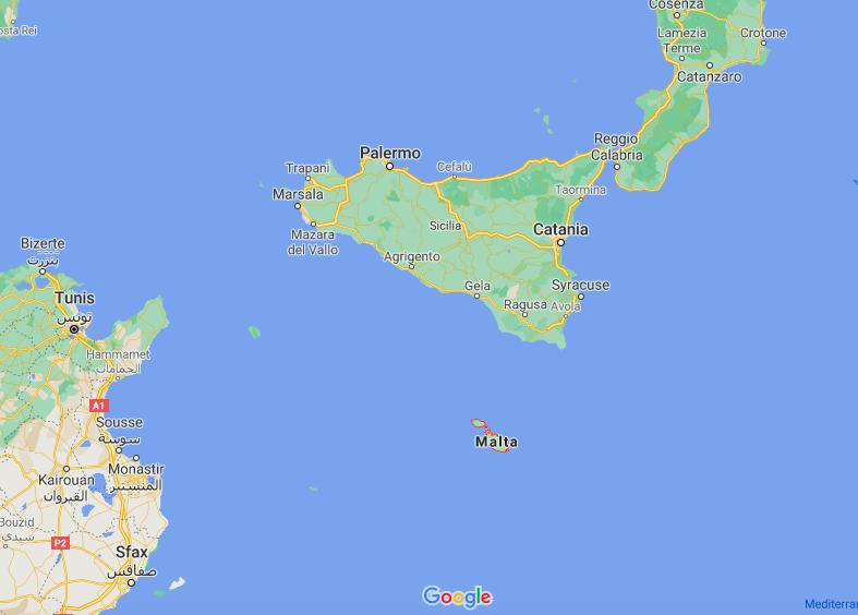 Mapa Malta © Google
