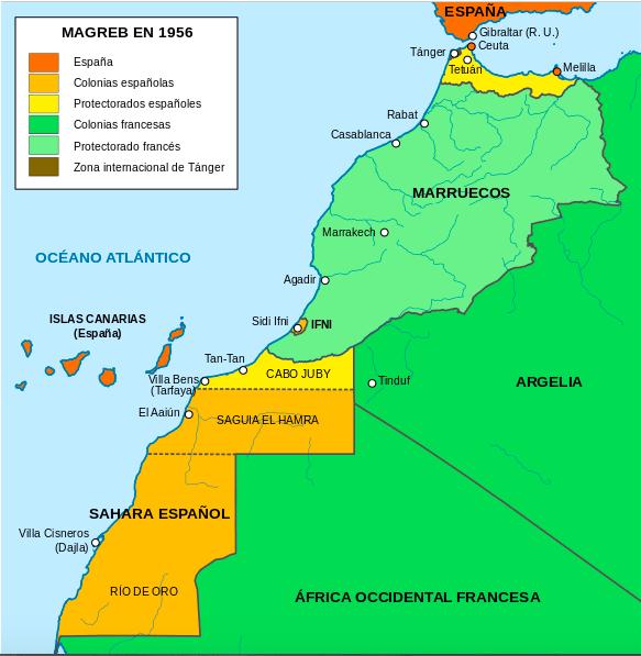 Mapa Região do Magrebe em 1956 © wikipedia