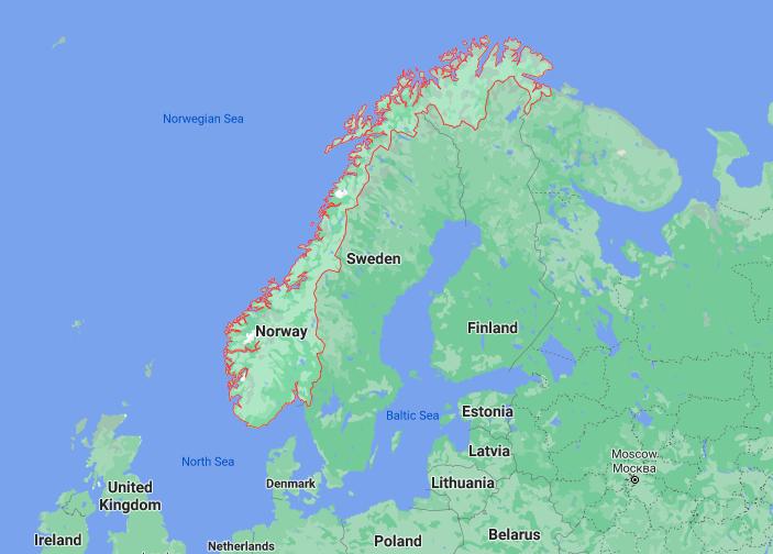 Mapa Noruega © Google