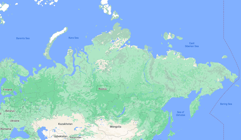 Mapa Rússia © Google