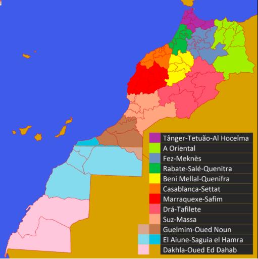 Mapa Regiões Marrocos © wikipedia