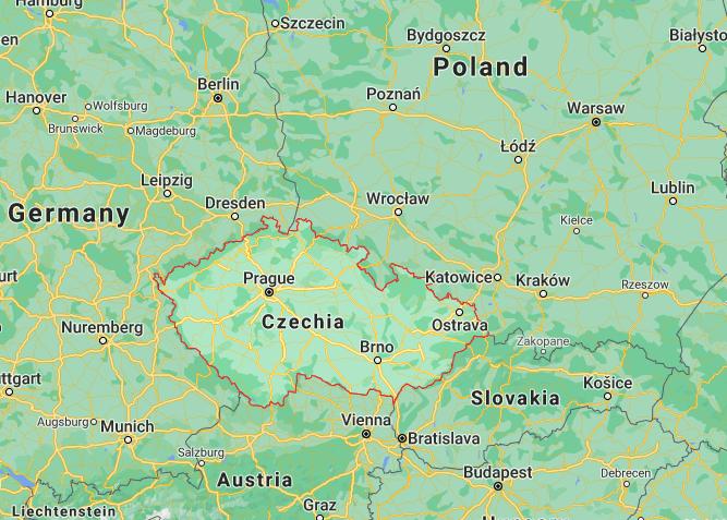 Mapa República Checa © Google