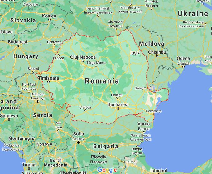 Mapa Roménia © Google