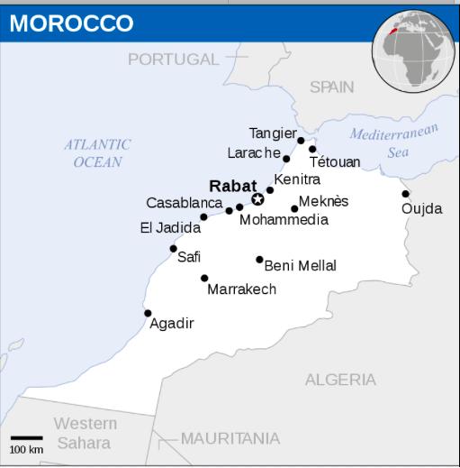 Mapa cidades de Marrocos © wikipedia