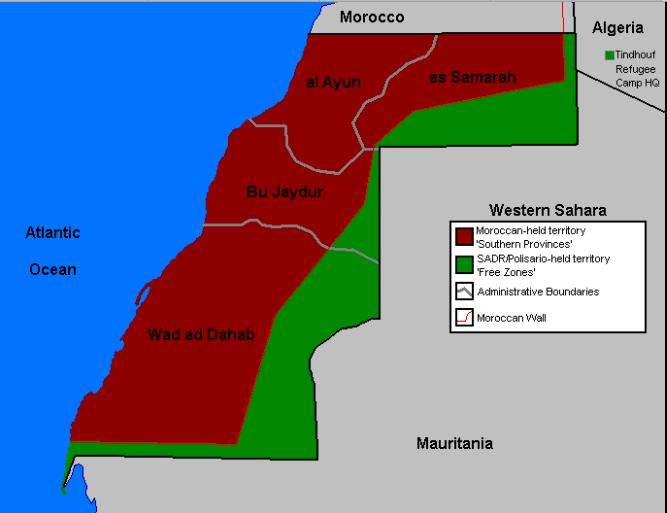 Mapa de zonas Saara Ocidental © wikipedia