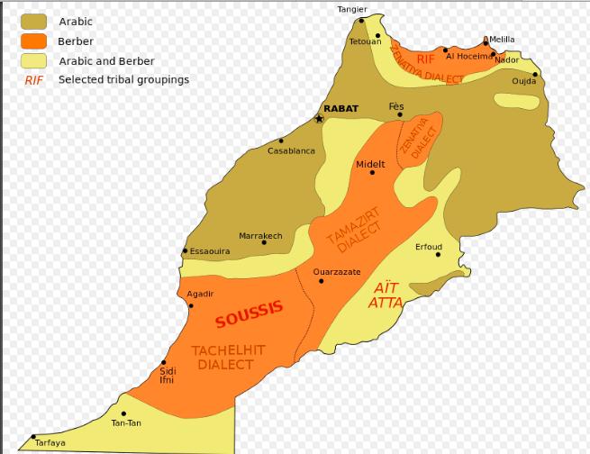 Mapa grupos étnicos em Marrocos © wikipedia
