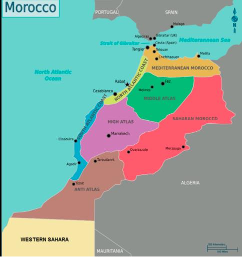 Mapa Marrocos por zonas © wikipedia