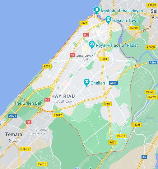 Rabat Mapa © google