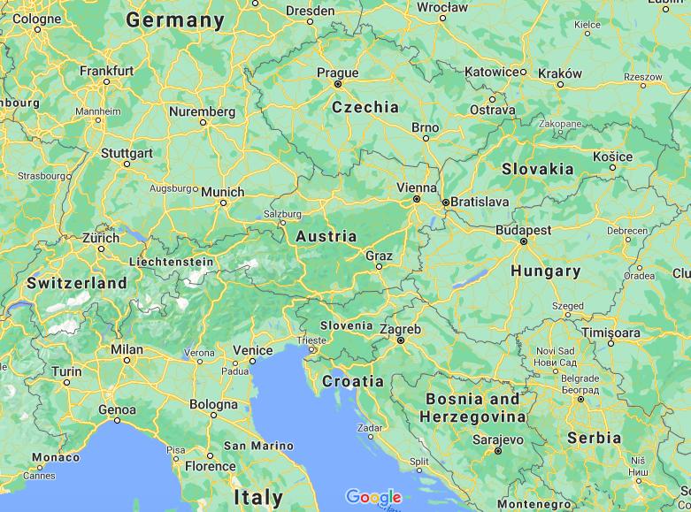 Mapa Áustria © Google