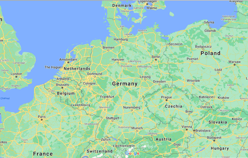 Mapa da Alemanha © Google