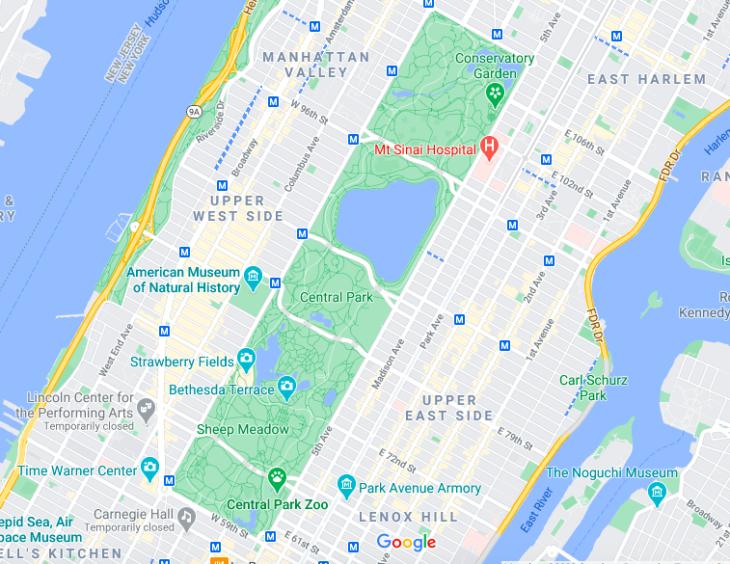 Mapa Central Park © Google