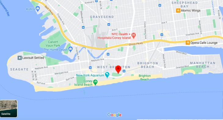 Mapa Coney Island © Google