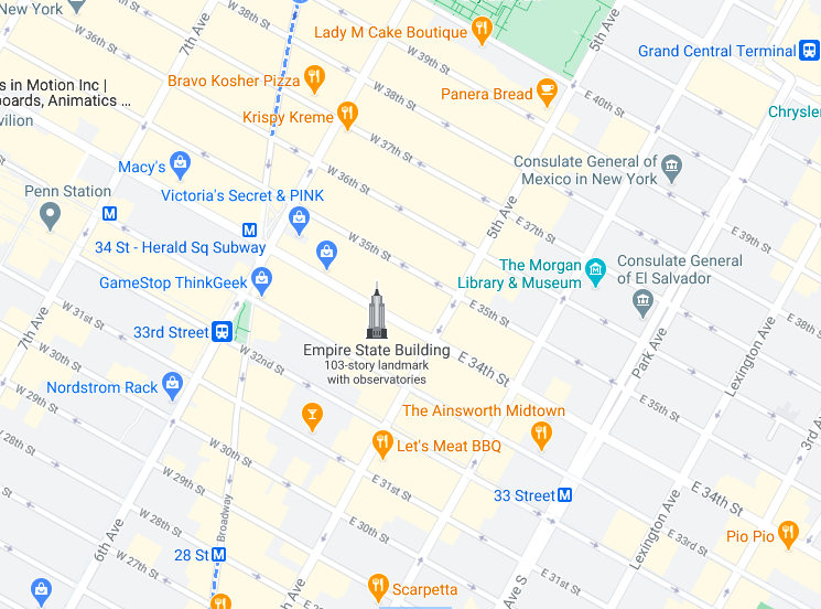 Mapa Empire State Building © google