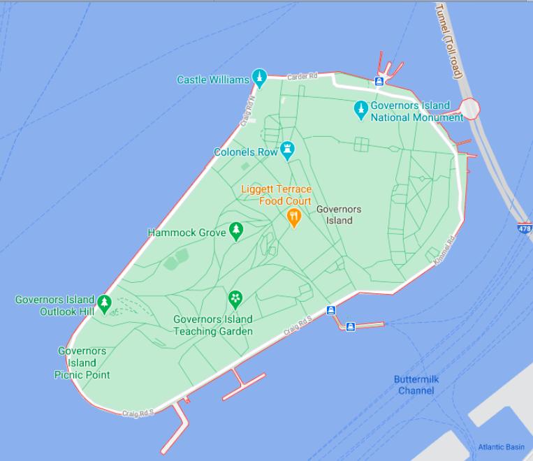 Mapa Governors Island © Google
