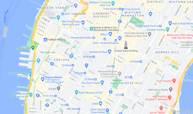 Mapa High Line © google