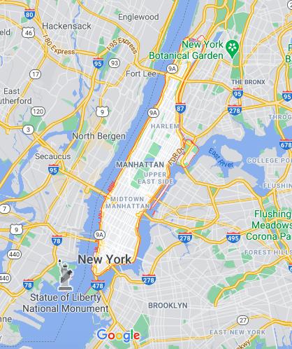 Mapa Manhattan © Google